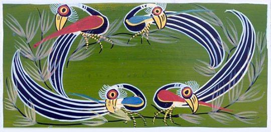 Birds on Green background