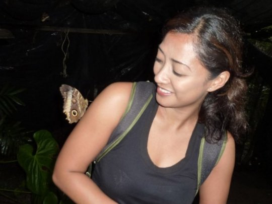 At a student's butterfly farm in Puriscal. It's an amazing sight to see dozens and dozens of butterlies flying around you.