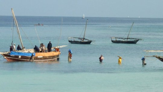 Watching the locals load a boat with goods in Zanzibar.