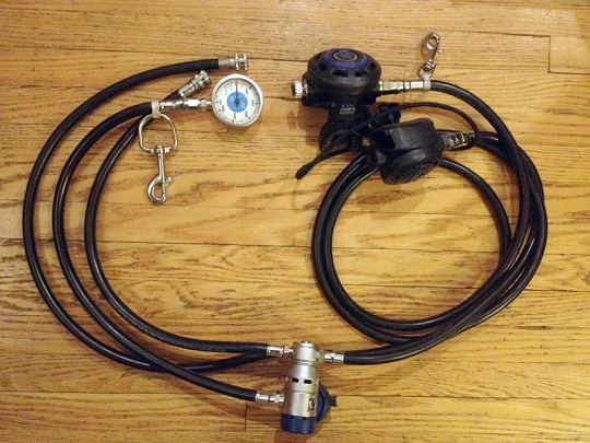 TIP: When assembling their scuba units, students may initially forget how to attach the first stage to the tank so that the gauge, inflator hose and regs would run down the correct sides of their body. A tip I shared with them was - LEFT to LOOK and for LIFT (gauge and inflator hose) and RIGHT for REGS. It was something I made up to help me when I was first learning to assemble my own gear and it seemed to work for them too ;)