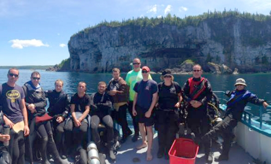 On a dive trip up to Tobermory with a group of Advanced Open Water students completing their AOW check out dives. Photo courtesy of Steve Tiernen.